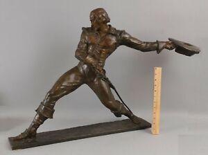LARGE Antique Pierre Le Faguays French Deco Bronze Sculpture, Cavalier Man Sword