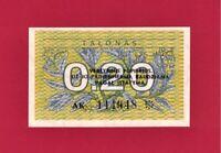 0.20 TALONAS 1991 LITHUANIA UNC STAR NOTE (P-30) LEAVES PREFIX AK, PRINTER SABK