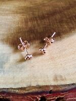925 Sterling Silver Rose Gold Ball Cluster Tiny Stud Earrings