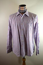 J. Crew Shirt Large Men Blue Red Striped Long Sleeve 2-PLY Cotton Button-Down