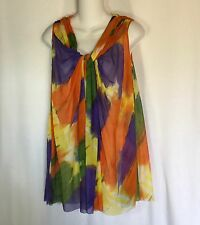 Shamask Top Size 1 Sleeveless Watercolor Draped Front USA Wearable Art