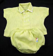 Baby Boy 2 Piece Yellow Playset Romper Child's Vintage 1950's Shirt & Pants