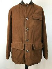MARLBORO CLASSICS Brown Jacket 48 Cotton Quilted VTG Leather Corduroy Collar
