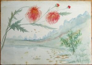 Hand-Painted, Original Art 1890 Watercolor - Thistle Flowers, Lake Scene