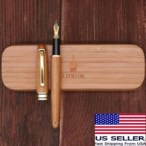 Luxun Bamboo Fountain Pen w/ Iridium Nib & Bamboo Gift Case & Ink Converter