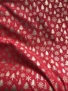 Festive Red Christmas Fabric 100% Cotton With Gold Foil Prints XMAS Tree Festive