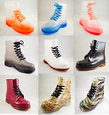 Fashion Jelly Clear or Solid Color Rain Boots  Lace Up Waterproof  size 6 - 11
