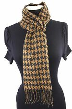 B53 Houndstooth Black & Brown Check Cashmere Fringe Long Scarf Boutique $110