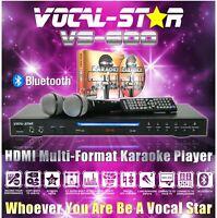 VOCAL-STAR VS-600 HD CDG DVD BLUETOOTH KARAOKE MACHINE 2 MICROPHONES 150 SONGS A