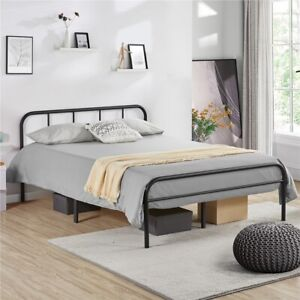Double 4ft6 Bed Iron Frame Black Metal Platform Bed with High Headboard