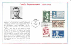 #978 First Day Souvenir Card/5 Lincoln Sesquicentennial Related Stamps w/FDC