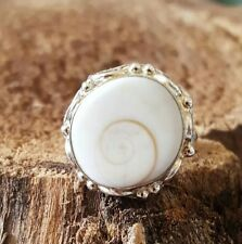 Shiva shell eye Ring 925 Sterling Silver US sz 7  Protection Love  ring