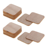200x Wooden Square Cutout Slices Shapes Coasters Wood Craft Blank Plaque DIY