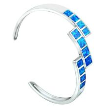 Fashion Fine Blue Fire Opal Bangles 925 Sterling Sliver Jewelry For Women