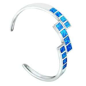Vikoly Fashion Fine Blue Fire Opal Bangles 925 Sterling Sliver Jewelry For Women