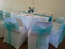 25 Teal Organza Wedding Chair Sashes ideal Wedding or Parties