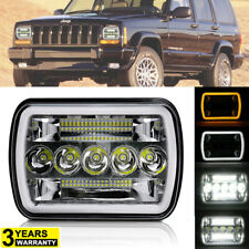 5x7'' 7x6'' LED Headlight Hi-Lo Beam Halo DRL For Jeep Cherokee XJ Wrangler YJ