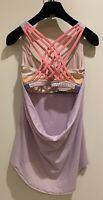 Lululemon Wild Tank- Lavender Pink Stripes, Colorful Built In Bra Sz 6 Preloved