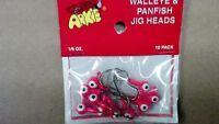 JIG HEADS, WALLEYE & PANFISH, (10) 1/8 OZ., PINK, K-4, ARKIE LURES
