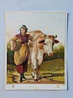 Antique Advertising Trade Card Print Maiden with Cow Unmarked Maker 6837