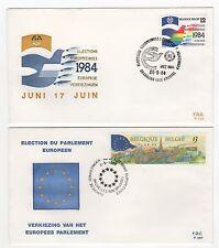 Belgique élections Européennes 2 FDC enveloppes timbres 1er jour /FDC119