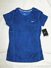 womens NIKE running crackle miler crew blue black shirt size XS NEW nwt $40
