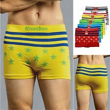 6 Pk Mens Seamless Stretch Boxer Briefs Underwear Workout Sports Stars MS043M