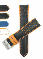 Bandini Vented Racer Leather Watch Band, GT Rally Strap, 5 Colors 18mm 20mm 22mm