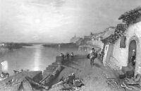France, SAUMUR LOIRE RIVER SAINT-HILAIRE-DE-RIEZ ~ Old 1837 Art Print Engraving