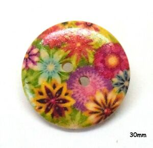 10 Large Wooden Round Flower Pink, Yellow Buttons 30mm, Sewing, Craft - BU1254