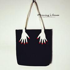 Black   Women Canvas Shopping Handbag Travel Shoulder Bags Tote Large Capacity