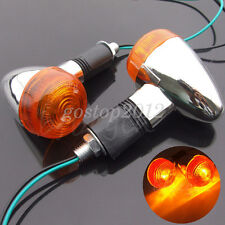 2x Motorcycle Amber Chrome Front Rear Bullet Turn Signal Indicator Light Blinker