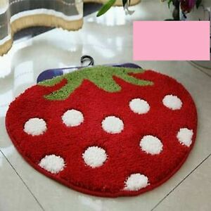 Soft Shaggy Strawberry Shape Floor Rug and Carpets (60X70 Cms Approx) Multicolor