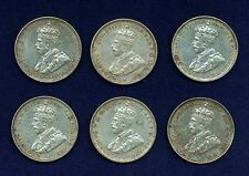 AUSTRALIA GEORGE V 1935 1 SHILLING SILVER COINS, LOT OF (6), GRADES: MOSTLY XF+