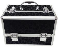 Large Floral Black Beauty Cosmetic Box Make Up Vanity Case Nail Tech Saloon Bag