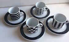 Eduscho Cafissimo Set of 4 Porcelain Espresso Cups & Saucers Black & White NIB