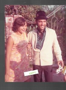 RARE ELVIS CANDID PHOTO WITH FAN 1969 CALIFORNIA HOME WITH BEARD 8X10