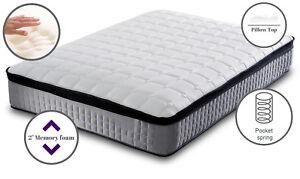 Deluxe Pillow top 3000 pocket sprung grey mattress - cashmere spring memory foam