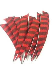"24pcs 4"" Turkey Arrow Feathers Right Fletching Striped Shield Wings"