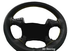 GENUINE BLACK LEATHER STEERING WHEEL COVER FOR JEEP LIBERTY KJ YELLOW STITCHING