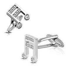 Cufflinks - Music Note Theme With Crystal Stones. Music Gift or Mens Gift