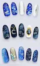White ZODIAC Symbols Libra Gemini PiscesWater Transfers Nail Art Sticker Decals