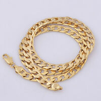 Yellow Solid Gold Filled Cuban Chain Necklace Thick Mens Jewelry Womens Cool w/
