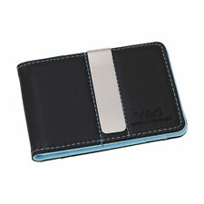 YCM13A04 Black Blue Fine Leather Wallet Stainless Steel Money Clip for Mens Y&G