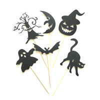 6Pcs Halloween Cake Toppers Ghost/Pumpkin/Bat Food Picks Halloween Party Deco FE