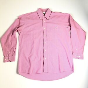 Lacoste Mens Button Up Dress Long Sleeve Shirt Red White Check Size 38 Medium