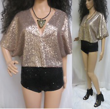 NWOT Orig. $98 Champagne Sequin Bolero Batwing Shrug One Size Never Worn