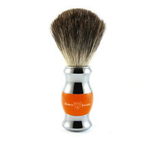 Edwin Jagger - Orange & Chrome Shaving Brush (Black Synthetic) in Gift Box