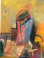 Peinture huile originale Georges Van Haardt (1907-1994) Abstraction poétique