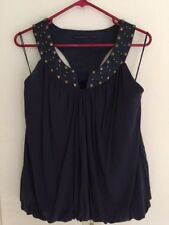 Beautiful Development by Erica Davies Navy Sleeveless top with studs size 8